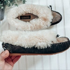 Coach Fur Lined House Slipper Brown Size 6